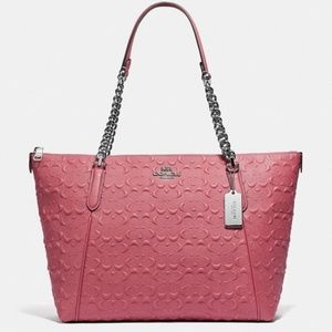 NEW! Coach Ava Chain Tote in SIgnature Leather